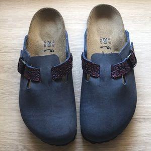Blue leather Birkenstocks